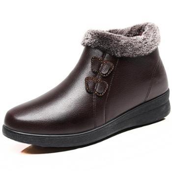 冬季加绒保暖中老年妈妈冬鞋老太太棉鞋女平底防滑老奶奶老人皮鞋