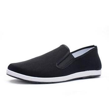 老北京布鞋工作鞋男士中老年父亲鞋一脚蹬保暖加绒秋司机冬季棉鞋