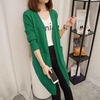 外套女春秋中长款宽松纯色针织开衫外搭韩版新款口袋长袖毛衣