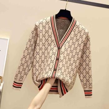 春秋冬季新款韩版宽松V领长袖针织衫女开衫外套外搭毛衣女装