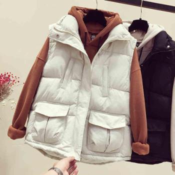 秋冬季羽绒棉马甲女短款韩版宽松面包服加厚坎肩棉衣外套