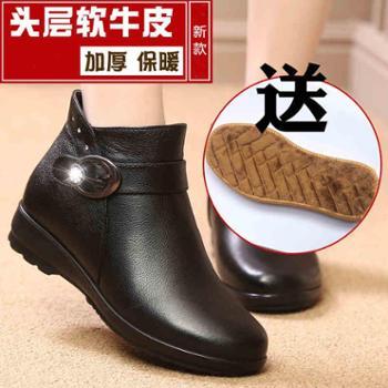 老人棉鞋女舒适软底防滑真皮妈妈鞋平底加绒保暖短靴中老年女鞋冬