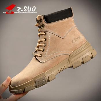 走索秋冬季马丁靴男潮流英伦男鞋沙漠短靴中高帮棉鞋工装雪地靴子