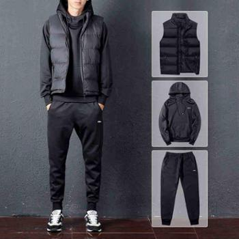男装秋装外套男士休闲运动套装男加绒加厚连帽卫衣套头衣服男冬季