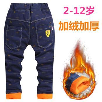 男童加绒加厚保暖裤冬季新品儿童棉裤中大童外穿小孩女童裤牛仔裤