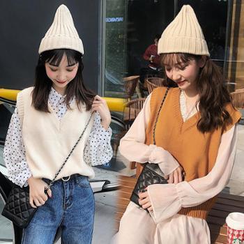 春秋季新款韩版甜美V领短款针织马甲女背心宽松百搭学生上衣