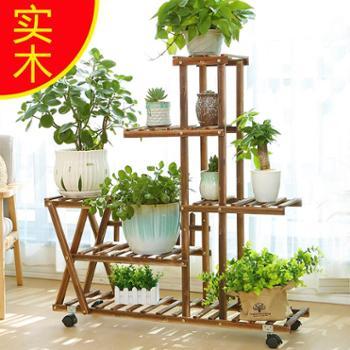 实木花架阳台客厅地面多层绿萝吊兰花盆架子落地式木质花架子室内