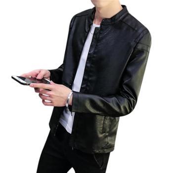 春秋男士皮衣韩版修身PU皮夹克薄款帅气潮流机车青年学生短款外套