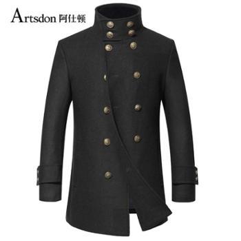 Artsdon/阿仕顿2016年男士羊毛大衣 纯色修身立领双排扣毛呢大衣