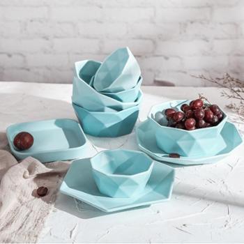 四发陶瓷碗盘碟13件套装家用北欧式简约碗盘组合2人陶瓷哑光磨砂创意餐具