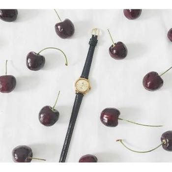 Cokly珠宝钟表配饰vintage上海国产90年代复古小铜表圆形女表手动机械黑色真皮表带包邮