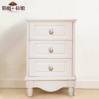 韩式田园儿童欧式卧室迷你白色小型床头柜简约实木储