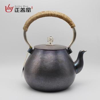 正善堂手工银壶银茶壶烧水壶煮茶壶银水壶泡茶壶送礼茶壶高端茶具知行合一之行