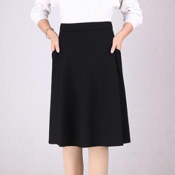 半身裙女半身裙9936梦可2018春季新款优雅黑色显瘦裙子百搭简约修身中长款A字裙长裙子