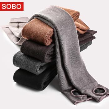 SOBO棉竖条纹加绒打底裤350g秋冬分层连脚保暖一体裤B264