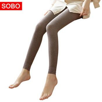 sobo棉条纹高腰打底裤蕾丝脚口保暖九分裤S160152g