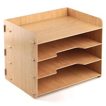 得力79213组合文件架收纳办公收纳架文件筐资料架木质多层文件栏桌面文具书架文件夹收纳盒
