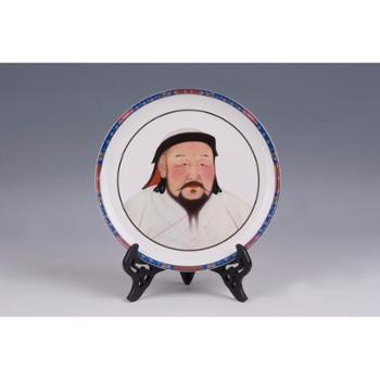 国礼瓷陶瓷可定制月光盘摆件12寸忽必烈头像月光盘