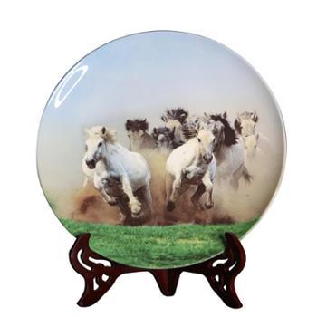 国礼瓷陶瓷可定制月光盘摆件蒙古族马文化工艺品摆件)14寸一往无前月光盘