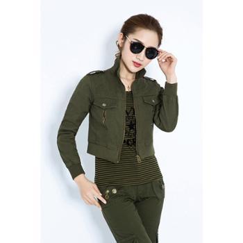 BaiLV百旅2016春秋女款军绿超短款外套两件套B2F2013#898-075