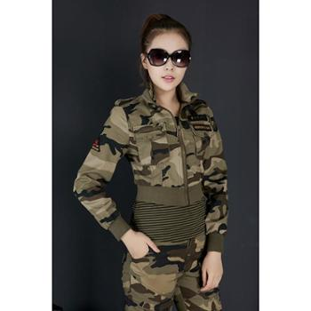 BaiLV百旅2016春秋女款迷彩超短款外套两件套B2F2013#8203-085