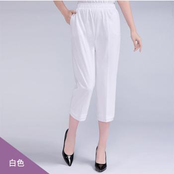 百旅Bailv夏季新款松紧腰宽松休闲裤中老年妈妈装七分薄款女裤