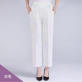百旅Bailv中老年妈妈装高腰直筒春夏季松紧腰弹力透气舒适长裤
