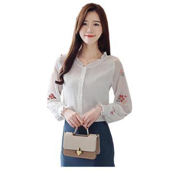百旅Bailv新款荷叶领小清新女秋季新款韩版灯笼袖雪纺衫洋气小衫