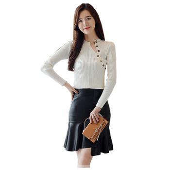 百旅Bailv秋季新款韩版修身毛衣纽扣打底针织衫女长袖