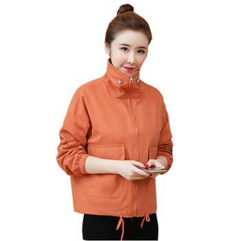 百旅Bailv春季女式外套荷叶领纯色短款宽松长袖拉链风衣夹克
