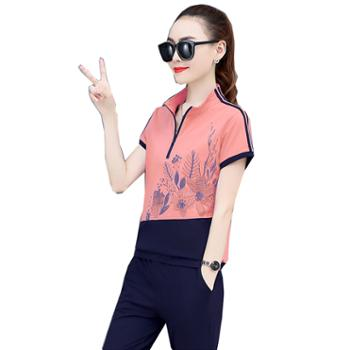 百旅Bailv夏季女立领短袖印花上衣休闲显瘦两件套裤