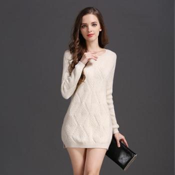 2016秋冬季新款韩版女士修身显瘦中长款长袖圆领纯色甜美羊绒衫针织衫