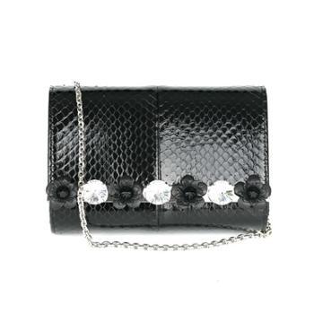 Fendi芬迪光面黑色锦蛇皮水晶贴花装饰手拿包单肩斜挎包8MO3228LPF0GXN