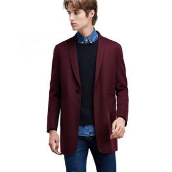 JJ Moda 韩版修身青果领毛呢长西装外套