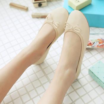 春秋蛋卷单鞋圆头平底工作鞋懒人鞋软底平跟孕妇鞋蝴蝶结学生女鞋
