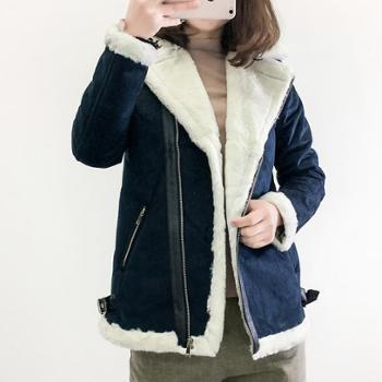女装时尚斜拉链加绒加厚大翻领麂皮绒外套长袖仿皮毛一体夹克