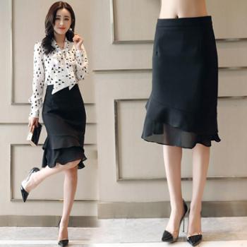 【hellosadieBSQ】女士半身裙2018年春季时尚唯美韩版简约修身显瘦气质HBLJR6187