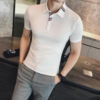 【hellosadiePOLO】男士POLO衫2018夏季新款编织条修身英伦短袖POLO衫XZ401-2-PL30