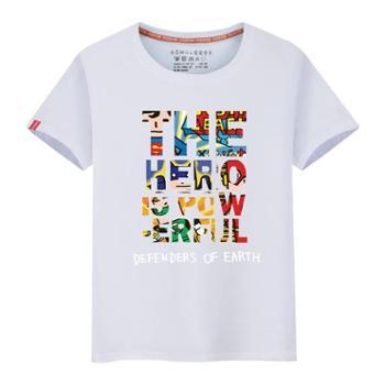 莱梦德男士T恤夏季休闲圆领短袖t恤卡通图案男式情侣装大码男装地球守护款