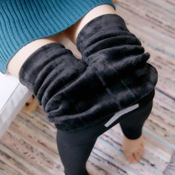 冬季棉竖条纹黑色显瘦加绒加厚打底裤女分层连脚一体裤340g