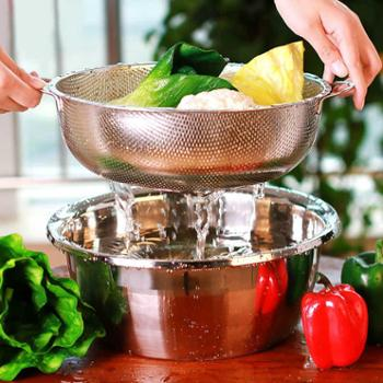 不锈钢盆漏盆洗菜盆加厚圆形洗米盆洗菜篮淘米篮沥水盆果盆