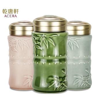 乾唐轩活瓷竹报平安系列带盖陶瓷杯