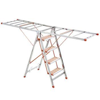 妙立多功能两用加厚不锈钢阳台落地可折叠翼型室内外晾晒架