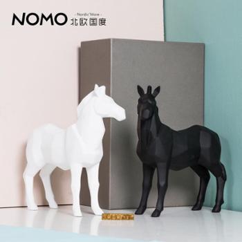 北欧国度现代简约几何折纸动物摆件树脂马饰品客厅电视柜摆设