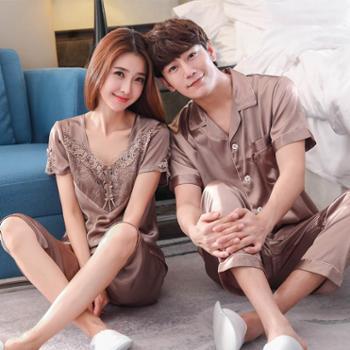 贵绣男士女士情侣丝绸睡衣 夏季短袖仿 真丝短袖套装两件套家居服 G-079短和1653短