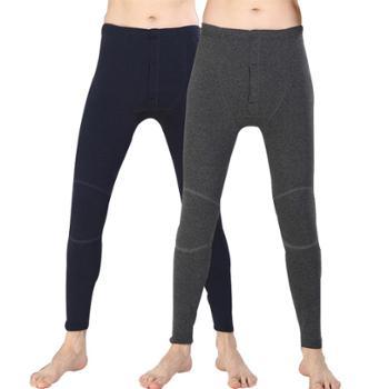 男士双层护膝超柔保暖裤秋裤男加厚加绒裤修身男士棉裤510026