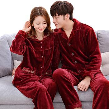 加厚加大码情侣珊瑚绒睡衣套装法兰绒男女情侣家居服