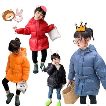 儿童羽绒服中长款外套 男女童韩版腰带羽绒服 W1921