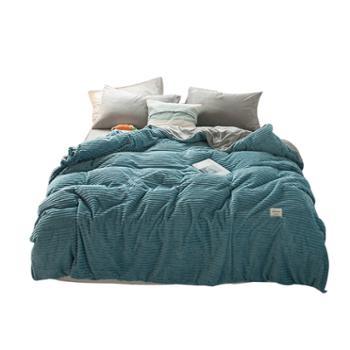 抽条绒纯色四件套AB面暖绒学生宿舍被套四件套加厚