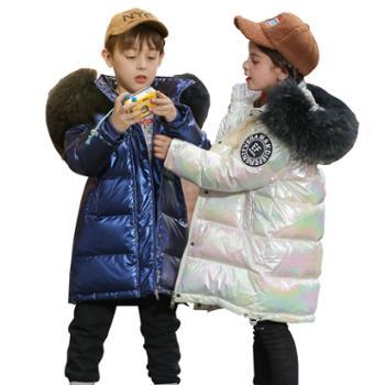 儿童羽绒服女童中长款 韩版大毛领亮面童装外套一8827